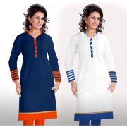 Buy 1 Miss Perfect Long Cotton Blue Kurti & Get 1 Long Cotton White Kurti Free ( Blue Orange & White Blue)