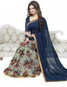 Fashion Kanya Aayesha Takia Latest Nevy Blue Colour Georgette Saree