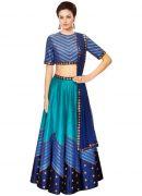 Khantil Navratri Special Blue Color Designer Semi Stitched Lehenga Choli-klfnt-01
