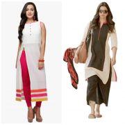 Morpich Fashion Buy 1 White Cotton Kurti Get 1 Cream Cotton Kurti Free(mfk1027)