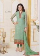 Vs Fab Green Georgette Embroidered Dress Material