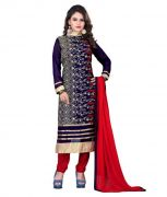 Mahamaya Creation Designer Blue Colour Partywear Unstitched Dress Material With Embroidered Work Mfd-17