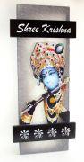Key Holder - Decorative, Wooden, With God Photo - Shree Krishna 302