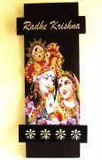 Key Holder - Decorative, Wooden, With God Photo - Radhe Krishna 225