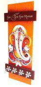 Key Holder - Decorative, Wooden, With God Photo - Shree Ganesh 101