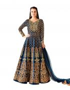 Style Amaze Pretty Designer Blue Color Embroidered Work Anarkali Taffeta Suit (code -4446bk4003)