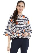 Soie Women's Printed Ruffled Top (code - Ol-09orange-print)