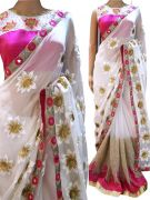 Srk White Colour Georgette Thred With Sequence And Hand Wprk Saree Kt-3014