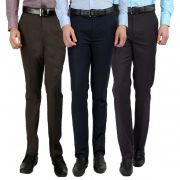 Gwalior Men's Formal Trouser Pack Of 3 Blue, Brown, Dark Grey