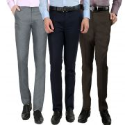 Gwalior Men's Formal Trouser Pack Of 3 Blue, Brown, Light Grey