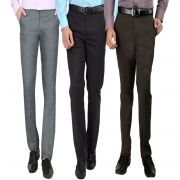 Gwalior Men's Formal Trouser Pack Of 3 Brown, Dark Grey, Light Grey