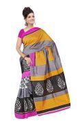Mahadev Enterprises Yellow Colour Bhagalpuri Silk Saree Meb_05