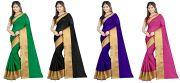 Mahadev Enterprises Multicolor Cotton Silk Saree ( 4 Combo Saree ) With Unstitched Blouse Pics Akm83511