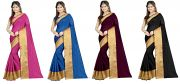 Mahadev Enterprises Multicolor Cotton Silk Saree ( 4 Combo Saree ) With Unstitched Blouse Pics Akm871112