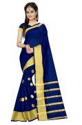 Mahadev Enterprises Navy_blue Colour Cotton Jari Embroidered Work Saree With Unstiched Blouse Pics Meg05