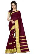 Mahadev Enterprises Black Colour Cotton Jari Embroidered Work Saree With Unstiched Blouse Pics Meg07