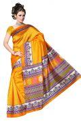 Mahadev Enterprises Yellow Colour Lichi Silk Saree Mel_0257