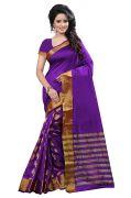 Mahadev Enterprises Blue Colour Cotton Jari Embroidered Work Saree With Unstiched Blouse Pics Meg02