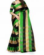Mahadev Enterpris Green Color Cotton Silk Saree With Unstitched Blouse Picsmpf30