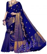 Mahadev Enterprises Blue Color Cotton Silk Embroidery Work Saree With Unstitched Blouse Pics Pf39