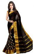 Mahadev Enterprises Black Colour Cotton Jari Embroidered Work Saree With Unstiched Blouse Pics Meg01