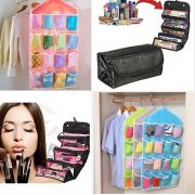Asot Combo Offer : 1 X 16 Pocket Clear Shoe Rack Door Hanging Package Hanger Storage Organizers.. 1 X Roll N Go Cosmetic Bag Organizer