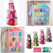 Combo Offer 1 X Storage Organizer Closet, Large, 6 Pocket 1 X 16 Pockets Clear Over Door Hanging Storage Bag