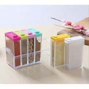 Crystal Seasoning Box Pepper Salt Spice Rack Plastic 6 Box Kitchen Containers