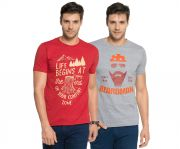 Zorchee Men's Round Neck Cotton Printed T-shirts -pack Of 2 (code - Zo-09-15)