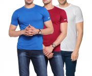 Zorchee Men's Round Neck Cotton Plain T-shirts -pack Of 3 (code - Zo-10-14-11 Pl)