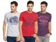 Zorchee Men's Round Neck Cotton Printed T-shirts -pack Of 3 (code - Zo-17-08-04)