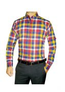 Granix Men's Formal Multicolorfull Sleeves Slim Fit Checkered Shirts