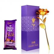 Love Gift Faux 24k Golden Rose With Cadbury Chocolate