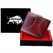 Justrack Men Brown Genuine Leather Wallet (7 Card Slots)