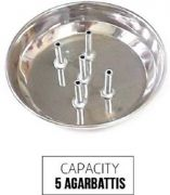 Agarbatti Holding Plate Stainless Steel 5-sticks Stand -1 PCs