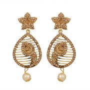 Piah Marvellous Lct Star And Leaf Stone Gold Plated Ad Alloy Drop Earrings'(code-9144)
