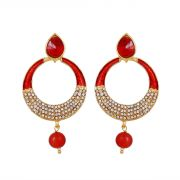 Piah Fashion Austin Diamond Charming Red Enamel Earrings For Women'(code-9149)