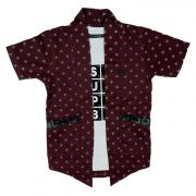 Gusto Boy's Maroon Poly Cotton Printed Shrug With Inner Tee (code _2867_maroon)