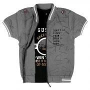 Gusto Boy's Grey Poly Cotton Half Sleeved Jacket With Inner Tee (code _2918_gray)