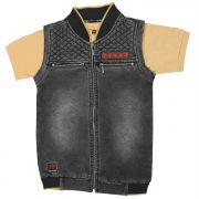 Gusto Boy's Black Denim Sleeveless Jacket With Inner Tee (code _3026_black)