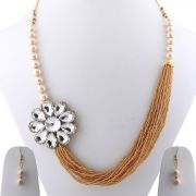 Gold Plated Traditional Multi Layer Golden Pearl Mala Set For Women And Girls(code-nm-1646)