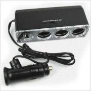 In-car Universal Car Cigarette Lighter (3)socket Splitter 1 USB