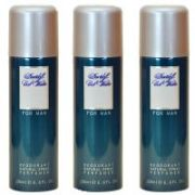 Set Of 3 Davidoff Cool Water Man Deodorant Body Spray 200ml