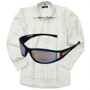 Branded Formal Stripe Shirt With New Sporty Rubberized Sunglasses