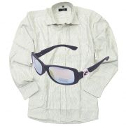 Formal Stripe Shirt With Sporty Biker Rectangular Wrap Sunglasses New_rel_5108