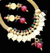 Ethnic Gold Forming Laxmi Coins Choker Set