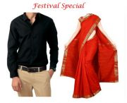 Buy One Art Silk Saree & Get Men's Black Shirt Free