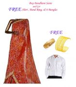 Buy Bandhani Saree And Get Shirt, Band Ring And 6 Bangles Free