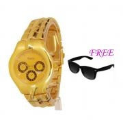 FREE SUN GLASSES WITH STYLISH WATCH FOR MEN SFGW12