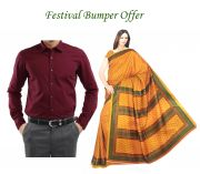 Buy Malgudi Silk Saree & Get Men's Maroon Shirt Free